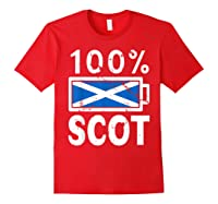 Scotland Flag T Shirt 100 Scot Battery Power Tee Red