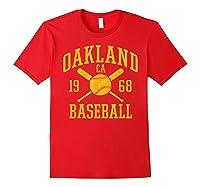 Oakland Baseball Vintage Oak Pride Retro Distressed Gift Shirts Red