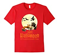 Happy Halloween With Extraordinary Dogs And Cats T Shirt Red