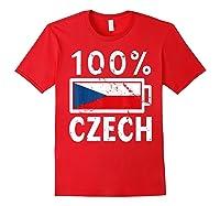 Czech Republic Flag Shirt 100 Czech Battery Power Tee Red