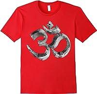 Om Yoga Chrom Zeichen   Buddha Vishnu Liebe Schwarz Weiß T-shirt Red