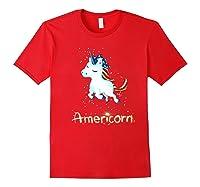 Americorn 4th Of July Patriot Usa Unicorn Lovers Funny Gift Premium T-shirt Red