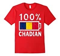 Chad Flag T Shirt 100 Chadian Battery Power Tee Red