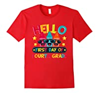 Hello First Day Of Fourth Grade Cute Crayon Student Tea Shirts Red