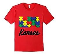 Autism Awareness Day Kansas Puzzle Pieces Gift Shirts Red