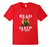 Sleep All Day Read All Night Bookish Read A Book Day Owl Tank Top Shirts Red