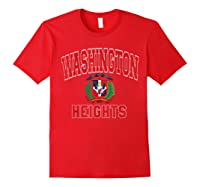 Washington Heights Dominican Flag Shield Varsity Style T Shirt Red