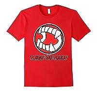 Funny Creepy Halloween Vampire Tooth Trick Treat Shirts Red