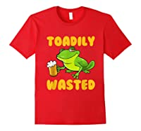 Funny Frog Drink Beer Toadily Wasted Beer Party Gift T Shirt Red