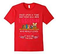There Was A Librarian Who Loved Books And Dogs Book Lover T Shirt Red