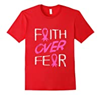 Faith Over R Breast Cancer Awareness Month Pink Ribbon Tank Top Shirts Red