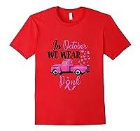 October Breast Cancer Awareness Month Pumpkin Vintage Truck Tank Top Shirts Red