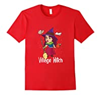 Village Witch Halloween Trick Or Treat Shirts Red
