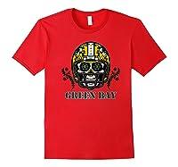 Green Bay Football Helmet Sugar Skull Day Of The Dead Premium T-shirt Red