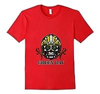 Green Bay Football Helmet Sugar Skull Day Of The Dead T Shirt Red