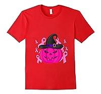 Pink Ribbon Pumpkin Halloween Breast Cancer Awareness Month T Shirt Red
