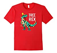 Christmas Tree Rex Shirts Dinosaur T-rex Raglan Baseball Tee Red