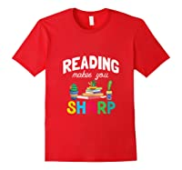 Reading Makes You Sharp Bookish Book Reader Read A Book Day Tank Top Shirts Red