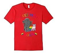 Free Mom Hugs Tshirt Rainbow Heart Lgbt Pride Month Premium T-shirt Red
