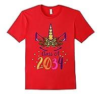 Unicorn Face Class Of 2034 First Day Kindergarten Girls Gift T-shirt Red