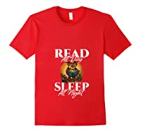 Sleep All Day Read All Night Bookish Read A Book Day Owl T Shirt Red