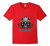 New England Football Helmet Sugar Skull Day Of The Dead T Shirt Red