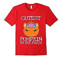 Cutest Pumpkin In The Patch Unicorn Halloween Girls Gift Shirts Red
