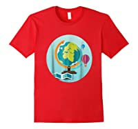 Science Design 4 Geography Travel T Shirt Red