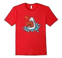 Shark Eats Jack O Lantern Funny Halloween Girls Shirts Red