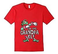 I'm The Grandpa Elf Dabbing Christmas Family Matching Gift T-shirt Red