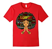 Blacknificient Words Art Afro Natural Hair Black Queen Gift Shirts Red