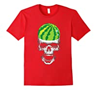 Skull Watermelon Cool Summer Fruit Melon Lover Gift Shirts Red