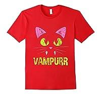 Halloween Scary Cat Vampire Vampurr Girl Shirts Red