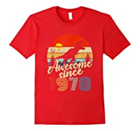 Dinosaur 41st Birthday Gifts Awesome 1978 41 Yrs Old Shirts Red