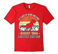 Born August 53 Limited Edition 53rd Birthday Dinosaur Shirts Red