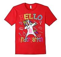 Hello Kindergarten Unicorn Tshirt Funny Back To School Gift Red