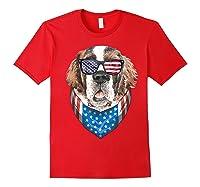 Fourth Of July Bernard American Flag July 4th St Bernard Dog T Shirt Red