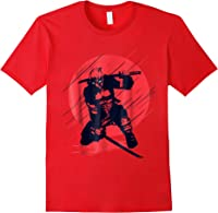 Marvel Deadpool Red Moon Samurai Graphic T-shirt Red