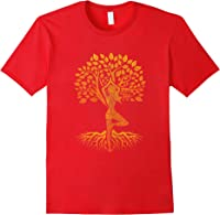 Da Baum Des Lebens With Woman Yoga T-shirt Chakra Haka Yoga T-shirt Red