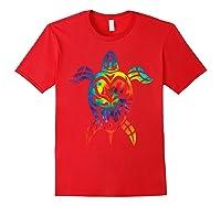 Save Sea Turtles Rainbow Tie Dye Hawaiian Shirts Red