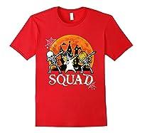 Skeleton Unicorn Pumpkin Dabbing Squad Team Halloween Tshirt Red