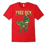 Tree Rex Shirt Christmas T Rex Dinosaur Pajama T-shirt Red
