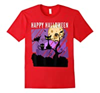 Spoopy Funny Halloween Black Cat Witch Hallow S Eve Joke T Shirt Red