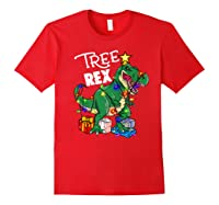 Tree Rex Dinosaur Christmas Gift T Rex Pajamas Xmas Premium T-shirt Red