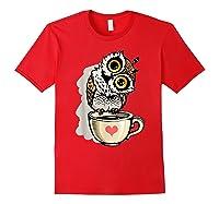 Cute Owl Cartoon Bird Hand Draw T Shirt Design Red