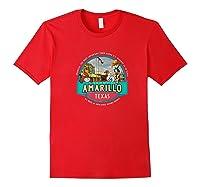 Amarillo Tx Texas Historic Route 66 Longhorn Cowboy Souvenir Premium T-shirt Red