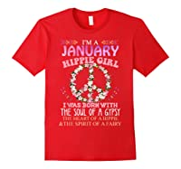 I'm A January Hippie Girl T-shirt Capricorn Pride Red