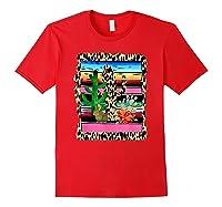 Fiesta Serape Cheetah Cactus Flower Cacti Rabbit T Shirt Red