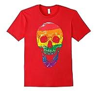 Lgbt Gay Pride T-shirt Skull Rainbow Red