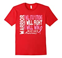 Breast Cancer Awareness Month Pink Ribbon Warrior T Shirt Red